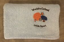 "Baby Boy Blue Fleece Blanket 30 x 40 ""World's Cutest Little Sport"" Throw"