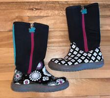 CHOOZE Girls Size 9 Rain boots STOMP BLINK Black White Flowers Tall Zip Toddler