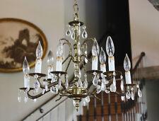 Antique 10 Light Brass & Crystal Chandelier Gorgeous