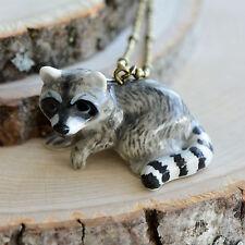 Hand Painted Porcelain Raccoon Necklace, Antique Bronze Chain, Ceramic Animal