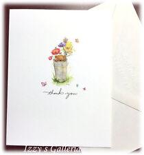 Vintage Mary Hamilton Butterflies Thank You Bear Flowers Blank Note Card