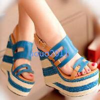 Chic Roman Sandals Super High Straw Wedge Heel Open Toe Platform Womens Shoes Sz