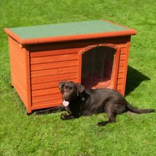 Dog Kennel Flat Roofed Wooden Weatherproof Hinged Robust Sturdy Raised Quality