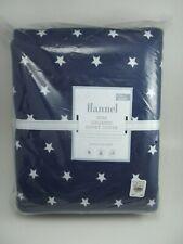 Pottery Barn Kids Navy Flannel Star Organic Duvet Cover Full Queen #2288