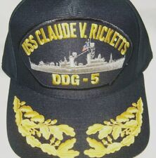 US NAVY CAP ORIGINAL USS CLAUDE V. RICKETTS DDG-5 Made in USA Double Eggs 1 Size