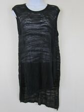 Wilt Black Slant Tank Size Small Linen Blend Slub Asymmetrical Burnout