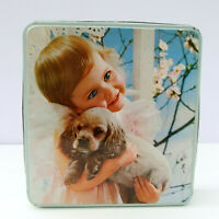 Vintage Retro Large Biscuits Tin Girl Holding Puppy