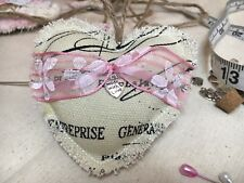 Vintage Handmade Fabric Shabby Chic Hanging Heart Wedding Nursery Door Hanger