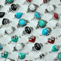 50Pcs Ancient Silver Plated Stones Rings Rhinestones Women Wholesale Jewelry BFP
