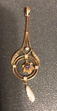 FINE ANTIQUE ART NOUVEAU 10K GOLD BLUE SPINEL & PEARL LAVALIERE PENDANT
