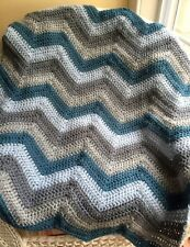 Crochet handmade baby blanket afghan wrap chevron ripple Vanna yarn blue gray