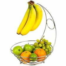 Fruit Basket Chrome Storage Bowl Banana Hanger Tree Holder Stand Hook