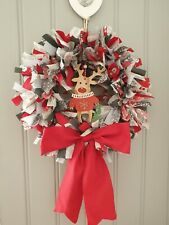 Christmas Scandi Rag Wreath. Red/Grey with Wood Reindeer Centre & large bow