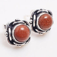 Sun Stone Gemstone Ethnic Jewelry Handmade Stud Earring Free Shipping