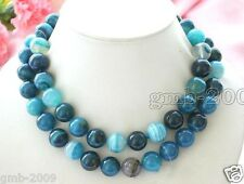 """36"""" Long 10mm Natural Blue Stripe Vein Agate Gemstone Round Beads Necklace AAA"""