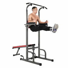 Pull Up Bar Power Tower Dip Station w/ Sit Up Bench for Indoor Home Gym Fitness