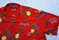 KOMAN SPORT Men's 4XL 4X-Large Red Hawaiian Pineapple Short Sleeve Shirt