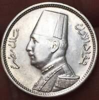 1929  EGYPT - 2 PIASTRES .833 SILVER  - KING FUAD I ***AU/UNC*** LUSTRUS BU COIN