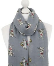 Grey Cute Rabbit Scarf Ladies Bunny Rabbits Print Spring Summer Scarves Wrap