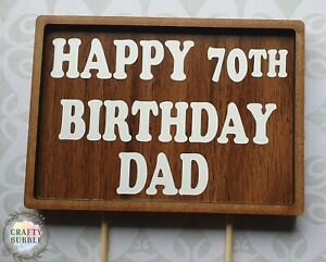 HAND MADE HAPPY BIRTHDAY WOODEN CAKE TOPPER ANY NAME/AGE