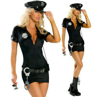 Women's Sexy Police Cop Policewoman Costume Black Fancy Dress Halloween Party