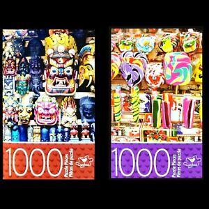 2 x Cardinal 1000 Piece Jigsaw Puzzles - Wooden Masks & Festive Candy NIB 2 Pack