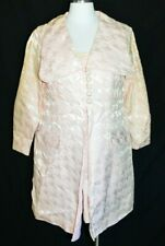 Pink Brocade Houndstooth Pattern Dress and Coat NWT Old Stock Medium Vintage