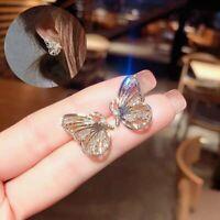 Luxury Zircon Crystal Gold Earrings Smart Fly Butterfly Ear Stud Fashion Gifts