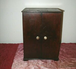 """Vintage Wooden 10"""" Tall DOLL CLOTHES ARMOIRE"""
