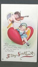 1920 Stecher Valentine Post Card While Strands Of Music Are Playing Waltz Time