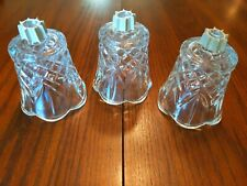 3 Vtg HomCo Glass Votive Sconce Holder 3� Scalloped Edge Diamond Cut Thickglass