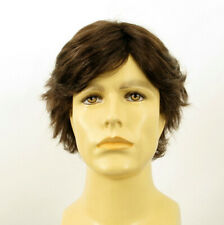 Short Wig For Men Natural Hair Light Brown With White Ref REMY 6SPW