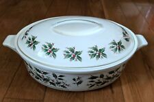 Vintage Oval Casserole Dish Holly Yuletide Earthen Ware - Fine China from Japan