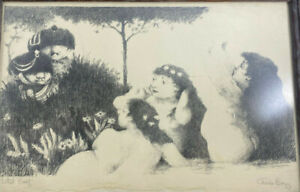 Charles Bragg Artist Proof Framed Women Soldiers Original Art Cartoon Black Wht