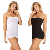 Women Elastic One Piece Tube Mini Top Dress Strapless Stretch Tight Body-con