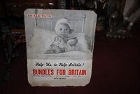 Vintage WWII British War Relief Poster Display-Bundles For Britain-New York