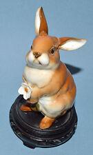 """Vintage German Porcelain Rabbit Figure 5"""" Hutschenreuther Brown w Flower & Stand"""