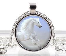 Weiß Pferd Halskette Mit Anhänger - Silber Geschenke Für Mädchen - Kleine