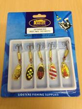 5 x Lineaeffe size 3 7g Assorted Trout Fishing Spinners Lures 8070 Gold Red