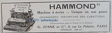 PUBLICITE MACHINE A ECRIRE HAMMOND G JOSSE TYPEWRITER DE 1911 FRENCH ORIGINAL AD