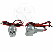 Skull LED License Plate Bolts Blue Chrome Motorcycle Tag Accent Light Fastener