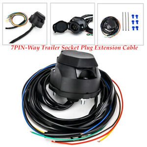 7PIN-Way RV Trailer Socket Plug Cable Round Wiring Adapter Truck Connector Kit