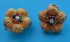 Stunning Gold Earrings with Diamonds, Rubies, Sapphires and Emerald