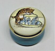 Halcyon Days Enamel Box - Kitten & Blue Willow Cup & Saucer - Cat - Smithsonian