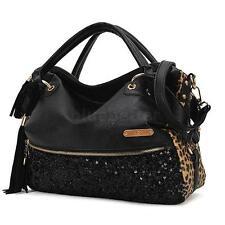 Women Lady Leopard Print Handbag Sequin Paillette Tassels Shoulder Bag Large