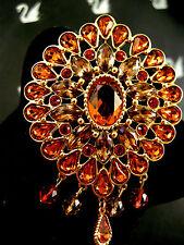 SIGNED SWAROVSKI GOLDEN TOPAZ  CRYSTAL 22KT GOLD PLATED PIN~BROOCH RETIRED NEW