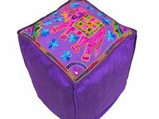 Purple Elephant Pouf Footstool Cover Embroidery Floor Seat Ottoman Slipcover 16""