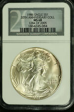 American Silver Eagle Dollar. 1986 NGC MS68 20th Anniversary Collection. Lot 615