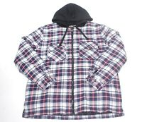 RQQBA Plaid Flannel Hooded Quilted Insulated Heavy Winter Shirt Jacket Mens XL