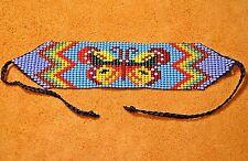 Glass Seed Bead Loom Work Butterfly Beadwork Bracelet, Colombia, South America